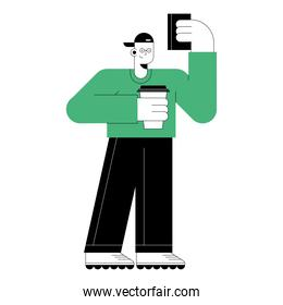 man with smartphone and coffee