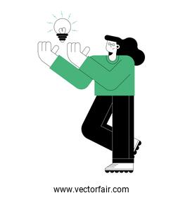 woman with bulb