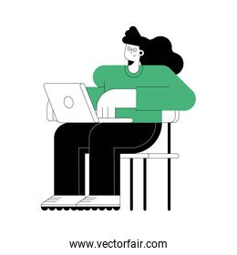 woman seated with laptop