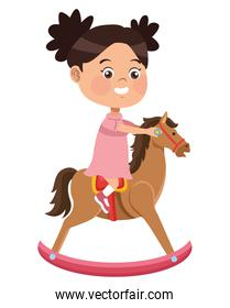 girl playing with horse