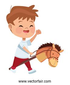 boy playing with horse