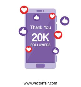 smartphone with 20k followers