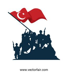 Zafer bayrami soldiers silhouette with flag