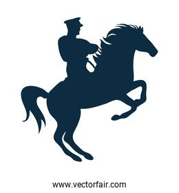 Military soldier on horse silhouette
