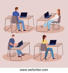 set office workers