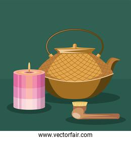 teapot brush and candle