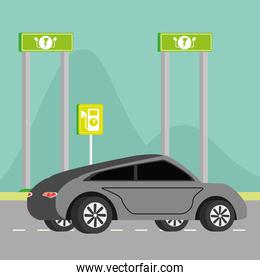 electric car and signpost