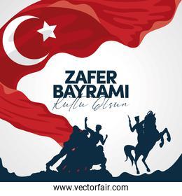 Zafer bayrami soldiers and horse with flag