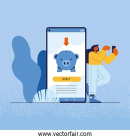 woman and smartphone with piggy