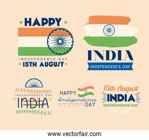 India independence day banners icon group
