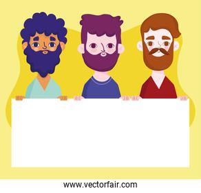 bearded men with banner