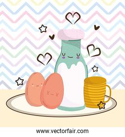 cute eggs milk and cup