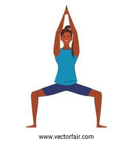 woman afro practicing yoga