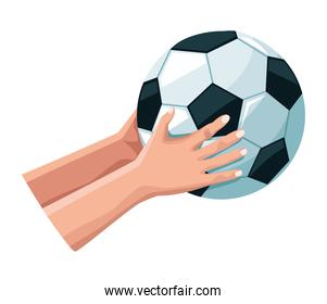 hands with soccer balloon