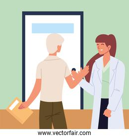 doctor and patient greeting