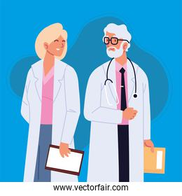 male and female doctors