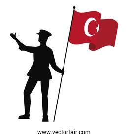 soldier with turkey flag