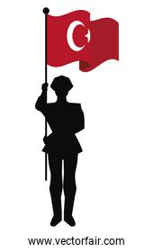 turkey flag with soldier
