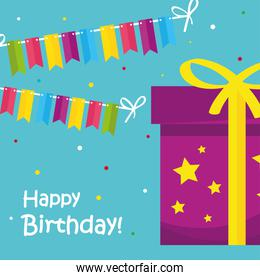 Happy birthday gift with banner