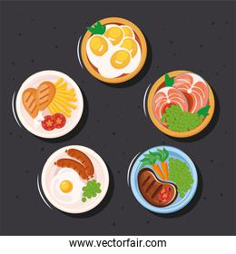 food plates icon collection