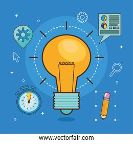 light bulb with icon set