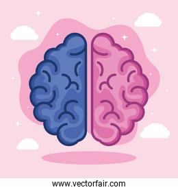 pink and blue brain with clouds