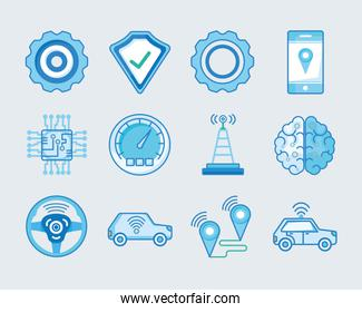 Transportation and vehicle icon collection