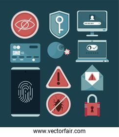 eleven cyber security icons