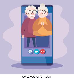 Grandfather and grandmother on smartphone in video call