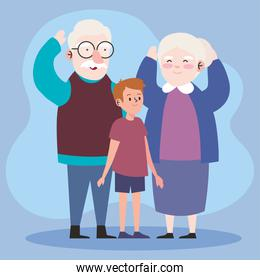 Grandfather and grandmother with grandson