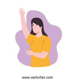 Girl with left hand up