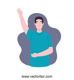 Man with left hand up