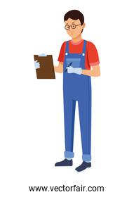 logistic worker with checklist
