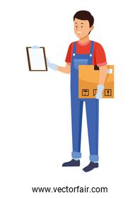 logistic worker with box