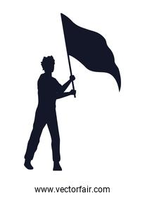 man silhouette with flag