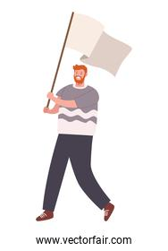 male activist with flag