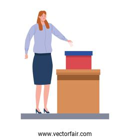 woman voting character