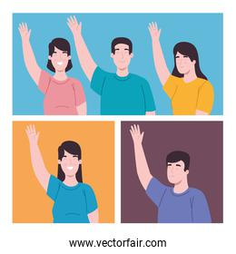 people with left hand up