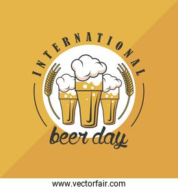 beer day emblem with glasses