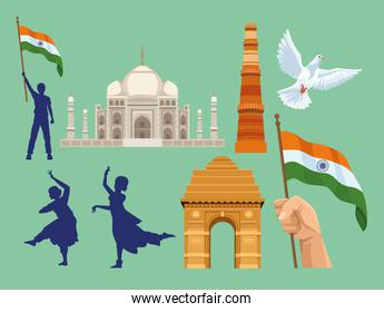 eight independence india icons