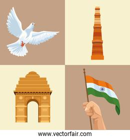 independence india four icons