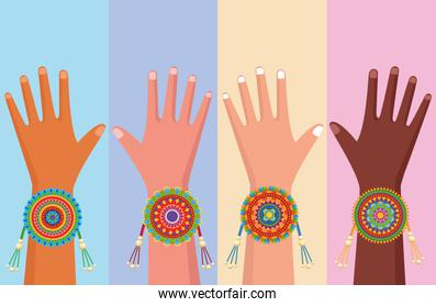 diversity hands with wristbands