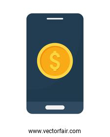 smartphone with coin
