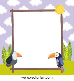 toucan and blank banner