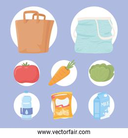icon food and bags