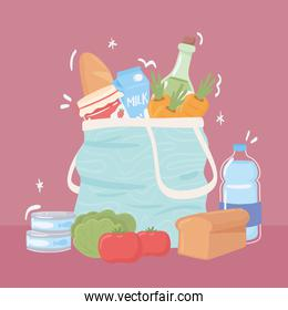 shopping bag with grocery food