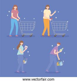 people with shopping basket