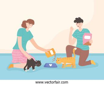woman and man feeding cats