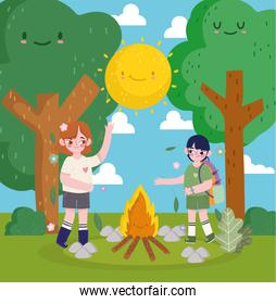 happy kids camping