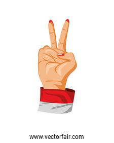 female hand in victory gesture